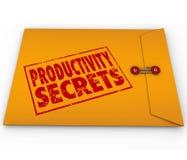 Consejo amarillo de la ayuda de las extremidades del sobre de los secretos de la productividad Fotografía de archivo