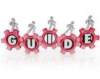 Consejo de las instrucciones de los engranajes de la gente de la guía que camina Foto de archivo
