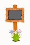 Consejo escolar de madera con las flores y las mariposas Foto de archivo libre de regalías