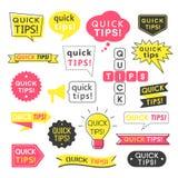 Consejo, extremidades rápidas, trucos útiles y logotipos de las sugerencias, emblemas y banderas aislados en blanco libre illustration