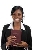 Conselheiro cristão que prende uma Bíblia fotografia de stock royalty free