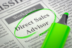 Conselheiro das vendas diretas que contrata agora 3d rendem Fotos de Stock Royalty Free
