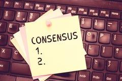 Consenso conceptual da exibição da escrita da mão Acordo geral do texto da foto do negócio sobre o evento sujeito particular ou imagem de stock