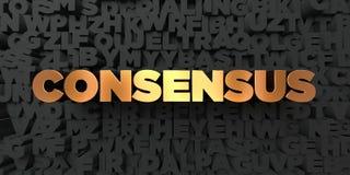 Consensus - Gouden tekst op zwarte achtergrond - 3D teruggegeven royalty vrij voorraadbeeld stock illustratie