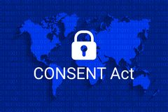 CONSENT Act. Customer Online Notification for Stopping Edge-provider Network Transgressions. Vector. CONSENT Act. Customer Online Notification for Stopping Edge Royalty Free Stock Photo