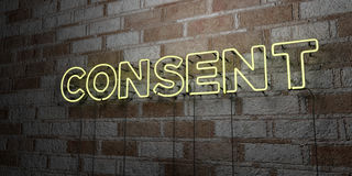 CONSENT - Glowing Neon Sign on stonework wall - 3D rendered royalty free stock illustration Royalty Free Stock Photos