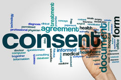 Consent word cloud. Concept on grey background royalty free stock image