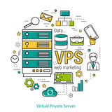 Consept VPS - Virtual Private Server. Vector thin line art concept of Virtual Private Server - VPS - and online cloud storage Stock Image