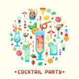 Consepts dell'invito del partito con i tipi e le decorazioni differenti dei cocktail dell'alcool illustrazione di stock