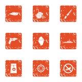 A consequência de ícones da guerra ajustou-se, estilo do grunge ilustração stock