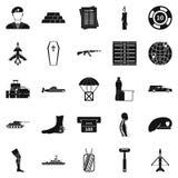 A consequência de ícones da guerra ajustou-se, estilo simples ilustração do vetor