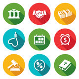 The consequences of the credit Icons Set. Vector Stock Photos