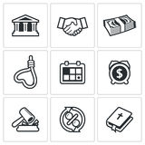 The consequences of the credit icons. Vector Illustration Royalty Free Stock Photo