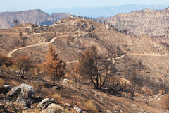 The consequences of fire. Greece, peninsula Peloponnese. Highlands after the fire stock photo