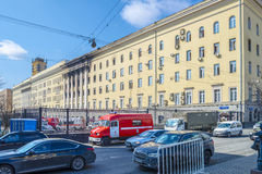 Consequences of fire. 2016 in the building of the Ministry of Defence on the Znamenka. Moscow Royalty Free Stock Photography