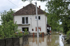 The consequences of flooding, flooded house. The consequences of flooding, flooded house stock images