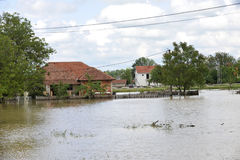 The consequences of flooding,flooded house royalty free stock photography