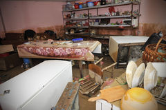 The consequences of flooding, flooded interior. stock images