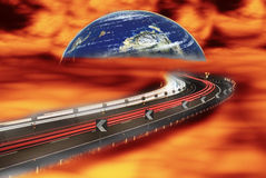 The consequences of global warming. People flee to another planet Stock Image