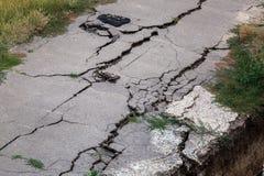 The crack asphalt paving. Royalty Free Stock Photo