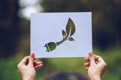 conservação ambiental do conceito de salvaguarda da ecologia do mundo com as mãos que guardam a exibição de papel cortada fotos de stock