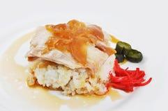 Conserva fresca do arroz branco da carne de porco Imagens de Stock Royalty Free