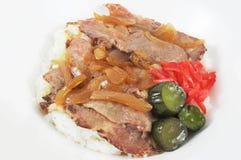 Conserva fresca do arroz branco da carne de porco Imagens de Stock