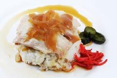 Conserva fresca do arroz branco da carne de porco Imagem de Stock