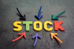 Conservado em estoque ou mercado de participações, conceito do ativo do investimento, setas que apontam ao centro com as letras c imagens de stock royalty free