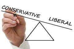 Conservador contra liberal Fotos de archivo libres de regalías