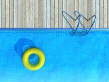 Conservante de vida amarelo que flutua na piscina, fundo do verão Fotografia de Stock