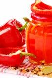 Conservas feitas HOME com paprika vermelha Foto de Stock Royalty Free