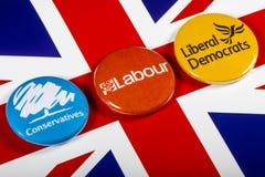 Conservateurs, travail et libéraux démocrates images libres de droits