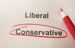 Conservatief omcirkeld in rood royalty-vrije stock foto