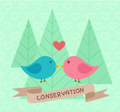Conservation banner - Two birds in love Royalty Free Stock Photo