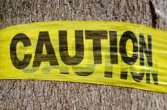Conservation Caution Sign. Conceptual Conservation Image Of A Tree With A Caution Sign Royalty Free Stock Images