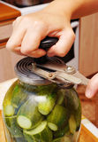 Conservation of cucumbers in a glass jar Royalty Free Stock Photo