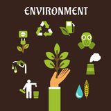 Conservation and environment flat concept Stock Images