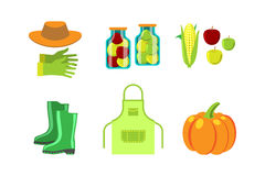 Conservation food and gardening tools vector illustration. Stock Image