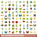 100 conservation icons set, flat style. 100 conservation icons set in flat style for any design vector illustration Stock Photography