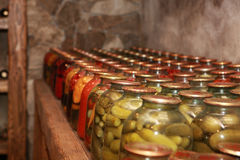 Conservation of vegetables-001. Conservation of vegetables - a cucumber, a tomato, onions, garlic - in glass jars are stored in a rural cellar in Republic of Royalty Free Stock Photos