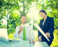 Conservative Businessman Running Green Business.  royalty free stock images