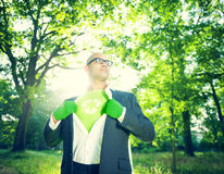Conservative Businessman Running Green Business Stock Photo