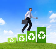 Conservative Businessman Running Green Business.  royalty free stock image