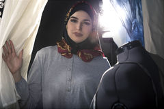 Conservative Fashion Designer with Hijab royalty free stock photos