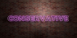 CONSERVATIVE - fluorescent Neon tube Sign on brickwork - Front view - 3D rendered royalty free stock picture. Can be used for online banner ads and direct Royalty Free Stock Photography