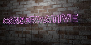 CONSERVATIVE - Glowing Neon Sign on stonework wall - 3D rendered royalty free stock illustration. Can be used for online banner ads and direct mailers Royalty Free Stock Image