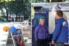 Conservative Party campaign stand. Campaign stand belonging to the Norwegian Conservative Party (Norwegian: Høyre) during a local election campaign in Oslo Royalty Free Stock Image