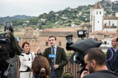 Conservative Popular Party conference in Caceres of Pablo Casado leader of PP and candidate for prime minister in Spain. Caceres, Extremadura, Spain - April 18 royalty free stock photos