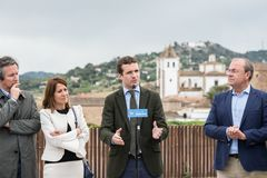 Conservative Popular Party conference in Caceres of Pablo Casado leader of PP and candidate for prime minister in Spain. Caceres, Extremadura, Spain - April 18 stock images